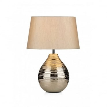 GUSTAV - Small Silver Ceramic Ripple Table Lamp