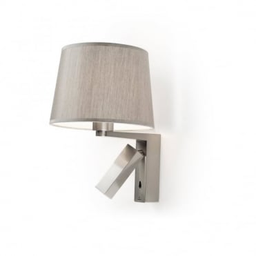 HALL - LED Task Reading Light Satin Nickel With Silver Shade , Switched