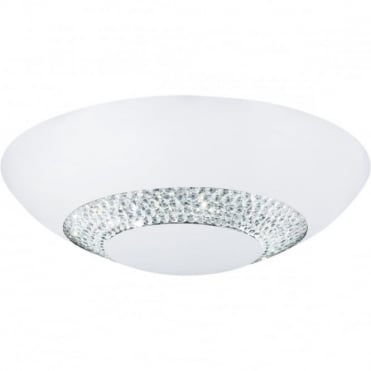 HALO - LED 8 Light LED Flush Ceiling Ceiling Dia36Cm Matt Wh With Clear