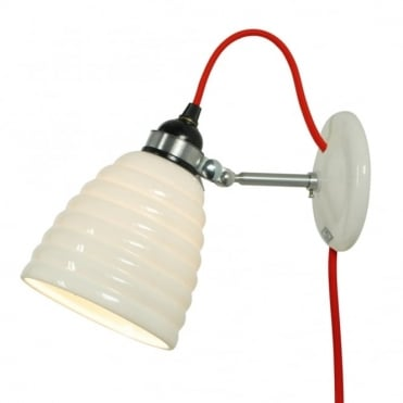 HECTOR - Bibendum Bone China Wall Light with Plug and Switch - Red Cable