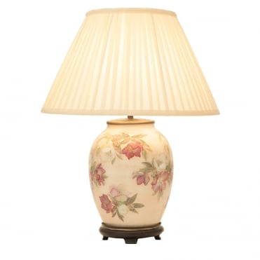 HELLEBORE Medium Oval Table Lamp with Silk Knife Pleat Balloon Lined Almond Shade 40cm