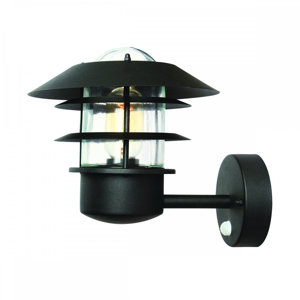 Pir Motion Sensor Exterior Wall Lantern Black Lighting And Lights Uk