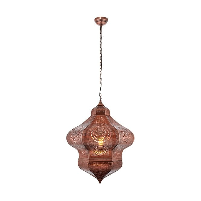 HERAN Extra Large Moroccan Ceiling Pendant Aged Copper
