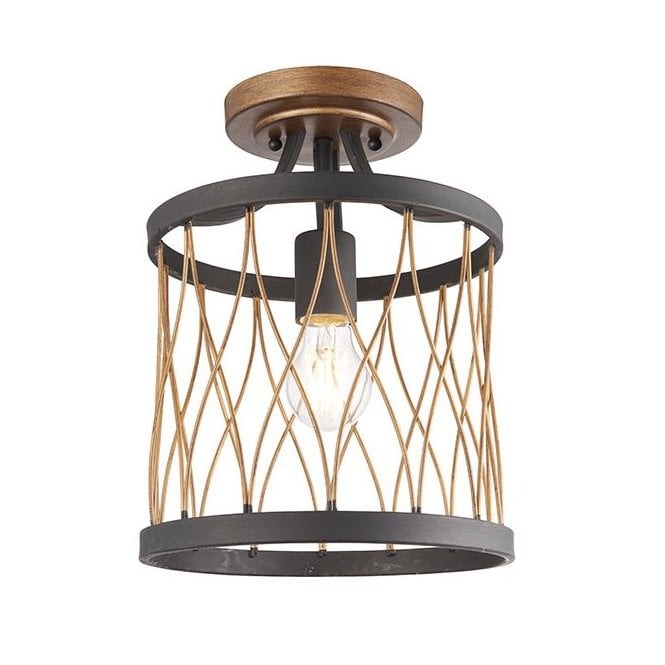 HESTON Semi-Flush Ceiling Pendant Basket Black Bronze