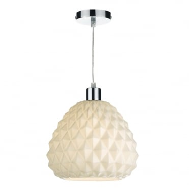 HETTIE Pineapple Easy Fit Ceiling Light Geometric White Opal Glass