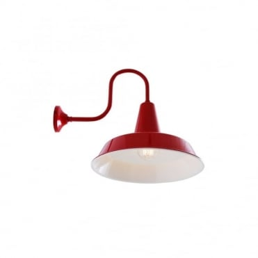 HEX - Factory Industrial Wall Light In Powder Coated Red