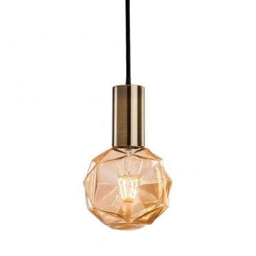 HHUDSON Ceiling Pendant in Antique Brass with Decorative Globe LED Bulb