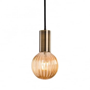 HHUDSON Ceiling Pendant in Antique Brass with Decorative Ribbed Globe LED Bulb