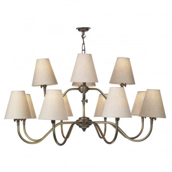 HICKS - 12 Light Ceiling Pendant In Antique Brass With Shades