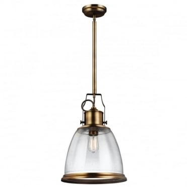 HOBSON Industrial Ceiling Pendant Aged Brass Seeded Glass in Brass
