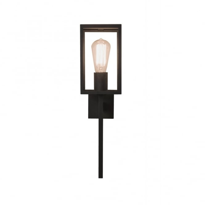 HOMEFIELD Exterior Wall Light Black in Frosted/Opal Glass