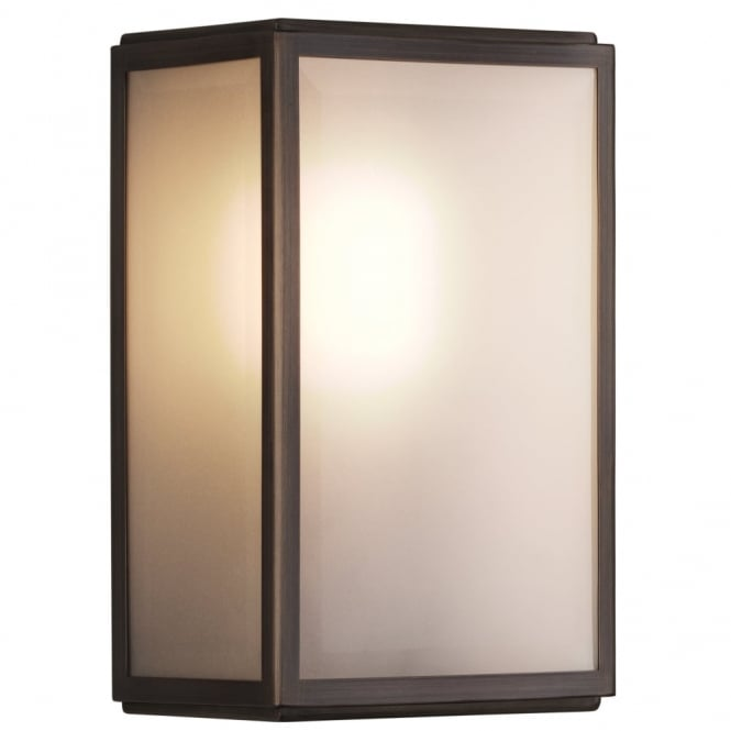 HOMEFIELD Frosted Glass Glazed Box Exterior Wall Light Bronze Plated