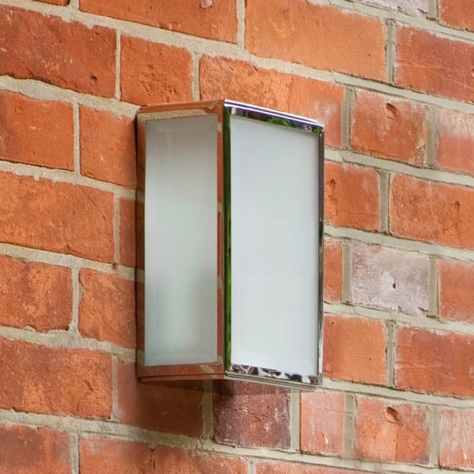 HOMEFIELD - Outdoor Square Box Wall Light Polished Nickel Frosted Glass