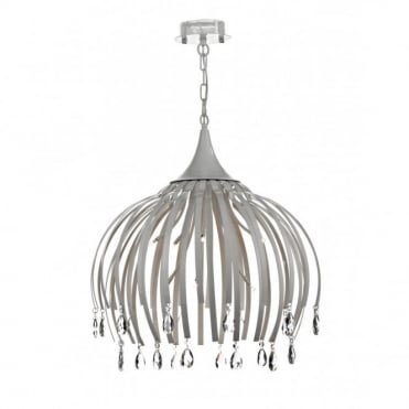 HOXTON - Large Ceiling Pendant Matt White With Crystal Drops