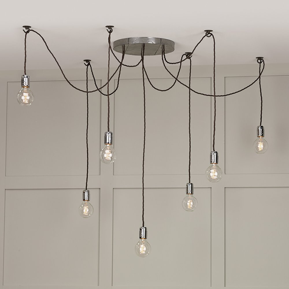 Huckleberry 7 Light Cer Ceiling Pendant Lead Grey