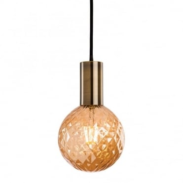HUDSON Ceiling Pendant in Antique Brass with Decorative Cut Glass Globe LED Bulb