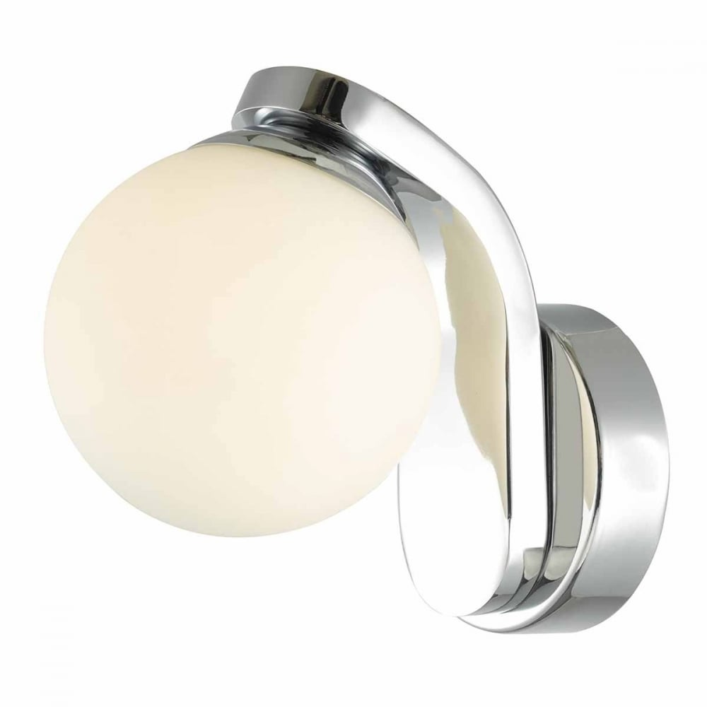 Awesome Iker Bathroom Wall Light Led Polished Chrome Opal Glass Globe Shade Ip44 Switched Home Interior And Landscaping Fragforummapetitesourisinfo