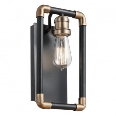 IMAHN Industrial Wall Light Black and Natural Brass Pipe