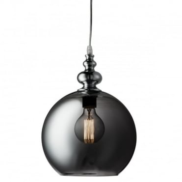 INDIANA - 1 Light Globe Ceiling Pendant Chrome Smokey Glass Shade