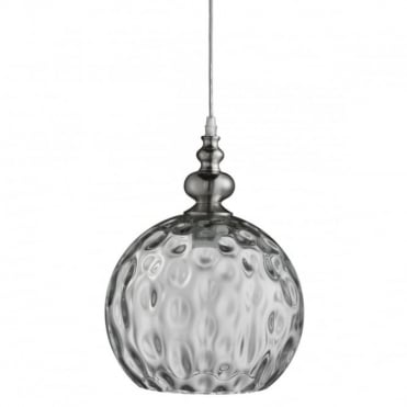 INDIANA - Globe Ceiling Pendant Satin Silver Clear Dimp LED Glass