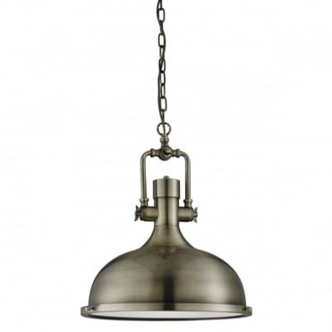 INDUSTRIAL - Pendant 1 Light Antique Brass Frosted Glass Diffuser