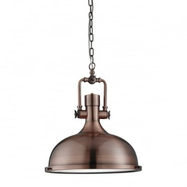 INDUSTRIAL - Pendant 1 Light Antique Copper Frosted Glass Diffuser