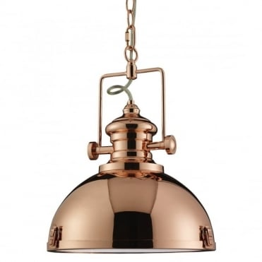 INDUSTRIAL - Pendant 1 Light Copper Clear Diffuser
