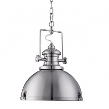 INDUSTRIAL - Pendant 1 Light Satin Silver Clear Diffuser