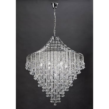 ININA Large Modern Chandelier in Crystal and Polished Chrome