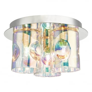 INTER 3 Light Iridescent Glass Flush Ceiling Light in Polished Chrome