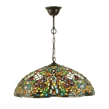 ANDERSON - Tiffany Stained Glass Ceiling Pendant Light (Large)
