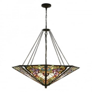 ANDERSON - Traditional Tiffany Mega 8 Light Inverted Ceiling Pendant Uplighter