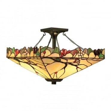 ARBOIS - Arts And Crafts Style Tiffany Semi-Flush Ceiling Light