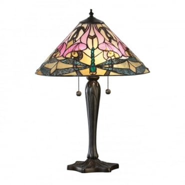 ASHTON - Tiffany Glass Table Lamp With Dragonflies (Large)