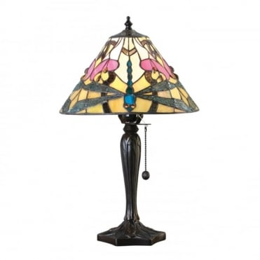 ASHTON - Tiffany Glass Table Lamp With Dragonflies (Small)