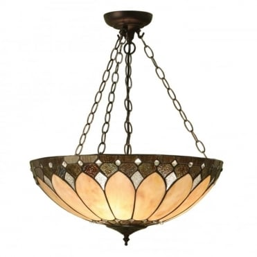 BROOKLYN - Large Tiffany Art Deco Uplighter Ceiling Pendant