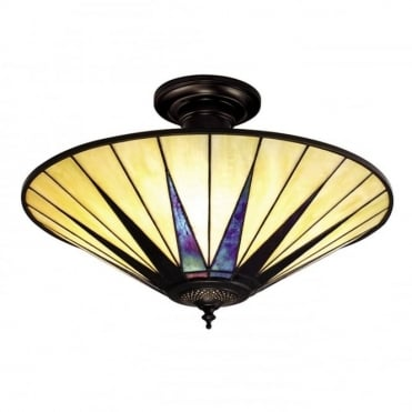 DARK STAR - Art Deco Tiffany Semi- Flush Ceiling Uplighter For Low Ceilings