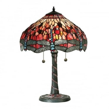 RED DRAGONFLY - Tiffany Glass Table Lamp, Large