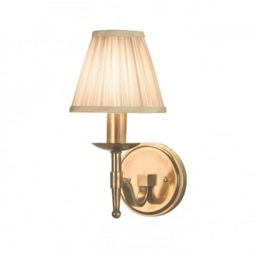 STANFORD - Aged Brass Wall Light With Beige Shade