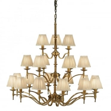 STANFORD - Large and Impressive 21 Light Ceiling Chandelier in Antique Brass with Beige Organza Shades