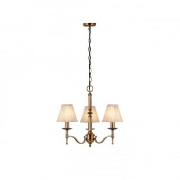 STANFORD - Small 3 Light Aged Brass Chandelier With Candle Shades