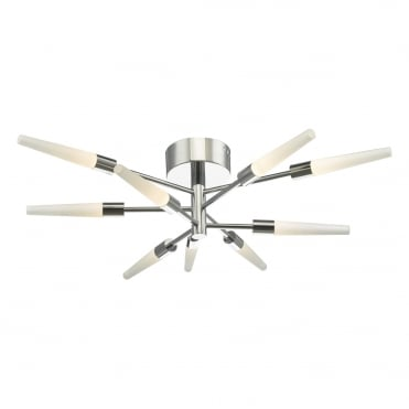 ISIDORA 9 Light LED Semi Flush Polished Chrome Ceiling Light
