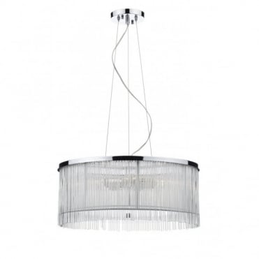 JAPAN - White Chrome and Clear Glass Ceiling Pendant (3 Light)