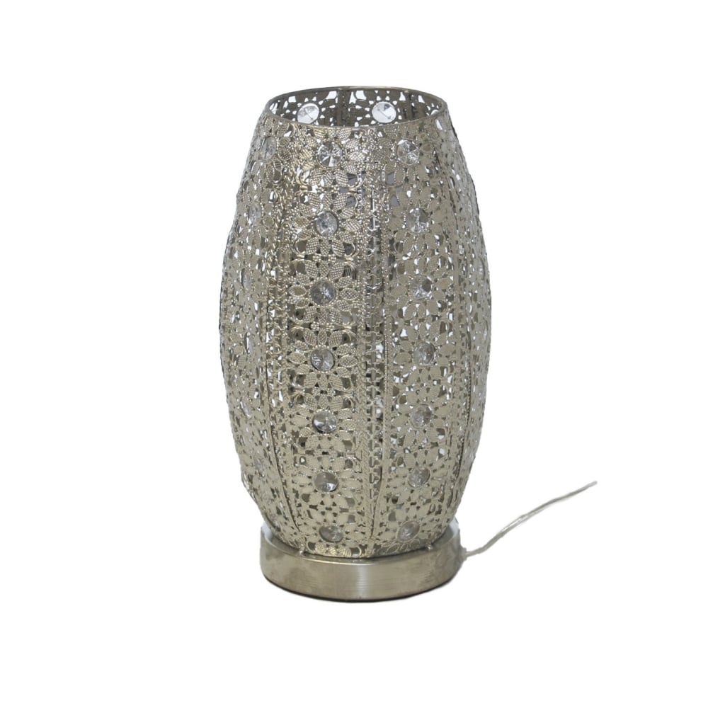 Jasmine pierced metal silver coloured flared table lamp small aloadofball Image collections