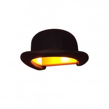 JEEVES - Black Felt Bowler Hat Wall Light with Gold Anodized Interior