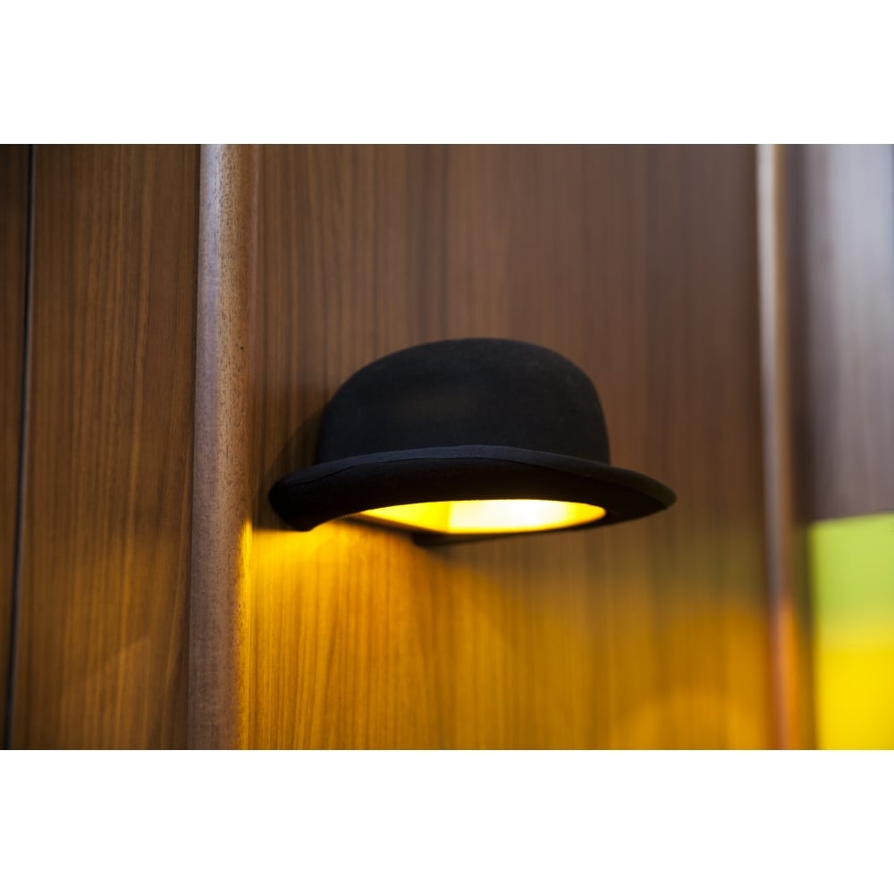 JEEVES Black Felt Bowler Hat Wall Light with Gold Anodized Interior