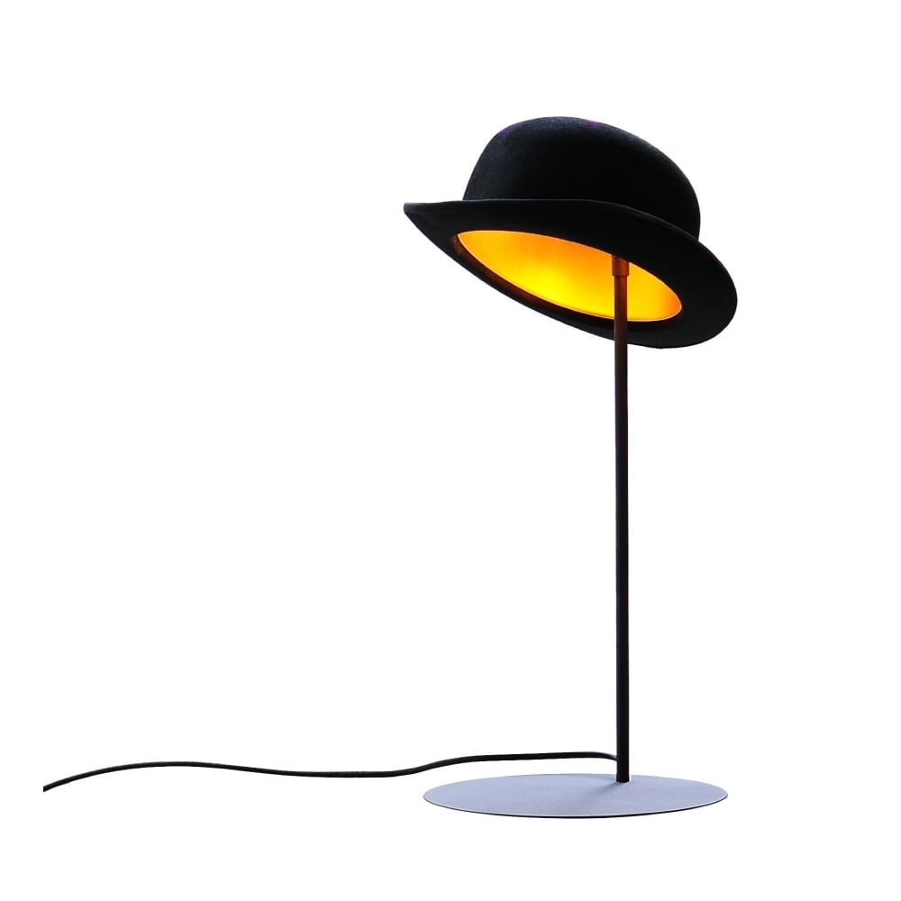 fe3063da423 Innermost JEEVES Table Lamp - JEEVES Table Lamp Black Felt Bowler Hat with Gold  Anodized Interior