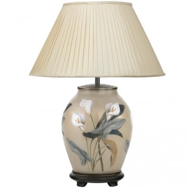 ARUM Lilly Medium Oval Table Lamp with Silk Knife Pleat Balloon Lined Almond Shade 40cm