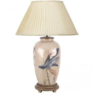 ARUM Lilly Tall Urn Table Lamp with Silk Knife Pleat Balloon Lined Almond Shade 50cm