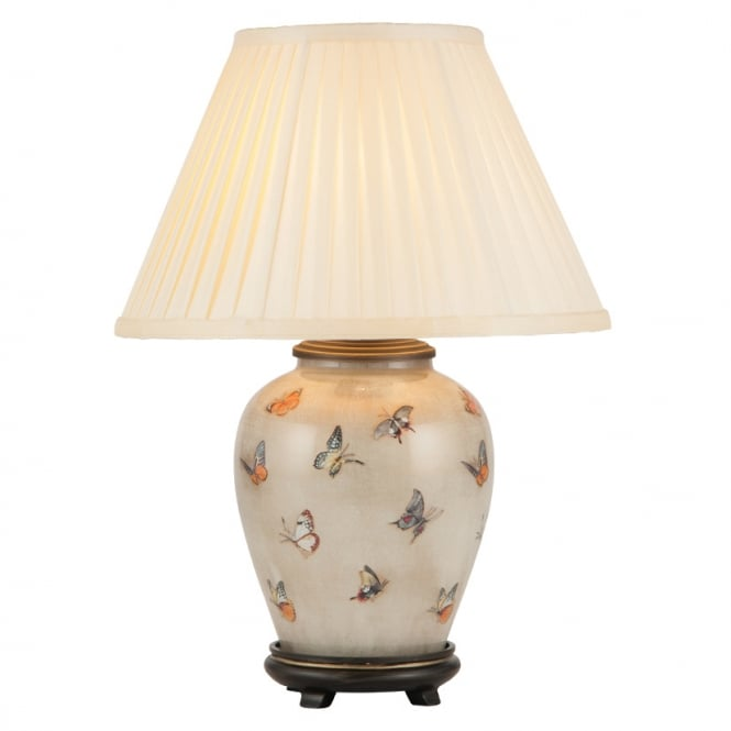BUTTERFLIES on Small Urn Table Lamp with Silk Knife Pleat Balloon Lined Almond Shade 30cm